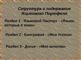 Раздел 1 - Языковой Паспорт - «Языки, которые я знаю» Раздел 2 - Биография -