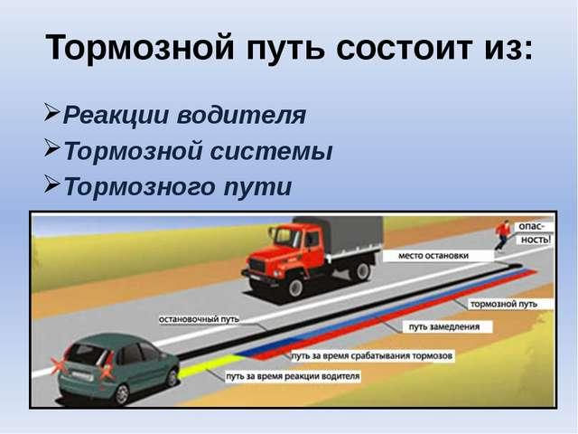 Тормозной путь состоит из: Реакции водителя Тормозной системы Тормозного пути