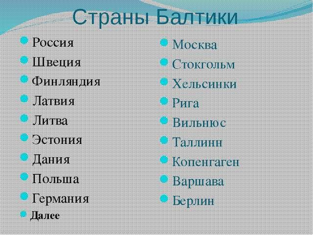 Страны Балтики Россия Швеция Финляндия Латвия Литва Эстония Дания Польша Герм...