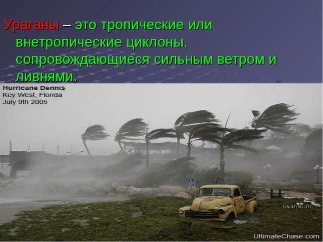 Ураганы – это тропические или внетропические циклоны, сопровождающиеся сильны...
