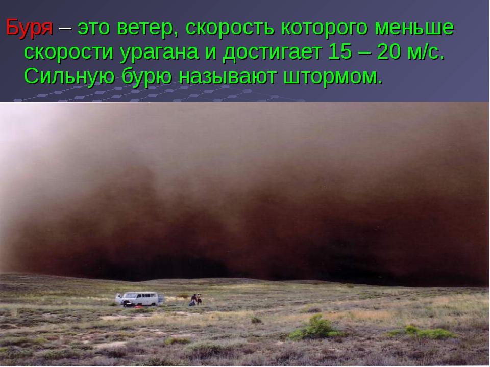 Буря – это ветер, скорость которого меньше скорости урагана и достигает 15 –...