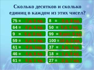 Сколько десятков и сколько единиц в каждом из этих чисел? 75 = 8 = 50 = 64 =