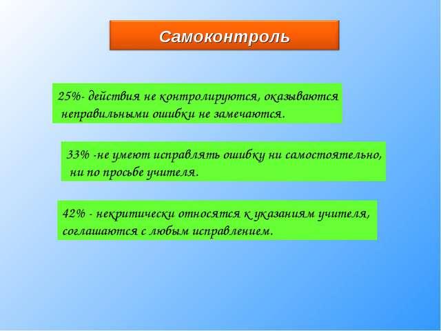 25%- действия не контролируются, оказываются неправильными ошибки не замечают...