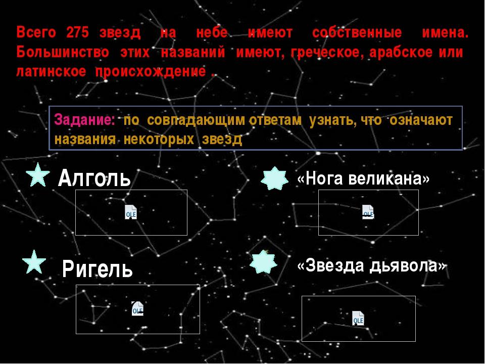 Всего 275 звезд на небе имеют собственные имена. Большинство этих названий им...