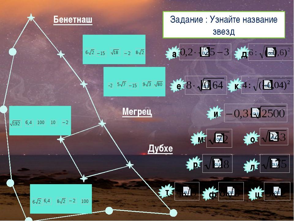 Задание : Узнайте название звезд д л к и е а ц ф т о р м η Бенетнаш ζ ε δ β γ...