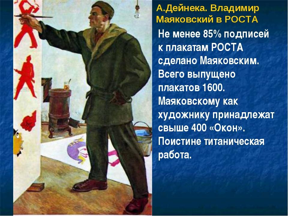 А.Дейнека. Владимир Маяковский в РОСТА Не менее 85% подписей к плакатам РОСТА...
