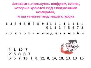 Запишите, пользуясь шифром, слова, которые кроются под следующими номерами, и