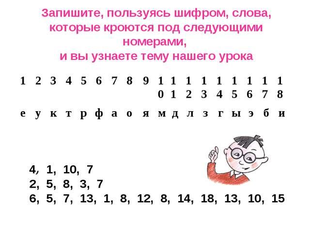 Запишите, пользуясь шифром, слова, которые кроются под следующими номерами, и...