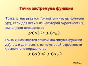 Точка x0 называется точкой минимума функции y(х), если для всех x из некоторо