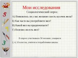 Мои исследования Социологический опрос. А) Появлялось ли у вас желание съест