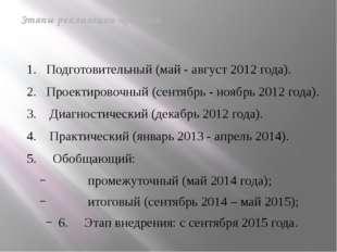 1. Подготовительный (май - август 2012 года). 2. Проектировочный (сентябрь -