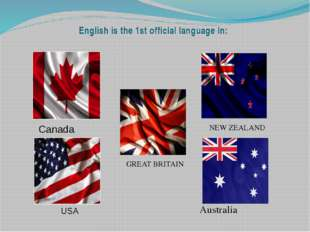 English is the 1st official language in: NEW ZEALAND GREAT BRITAIN Australia