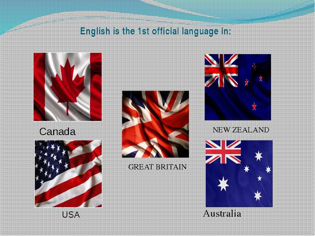 English is the 1st official language in: NEW ZEALAND GREATBRITAIN Australia...