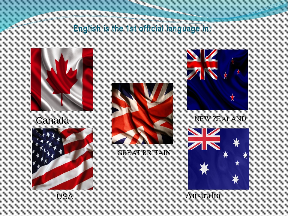English is the 1st official language in: NEW ZEALAND GREAT BRITAIN Australia...