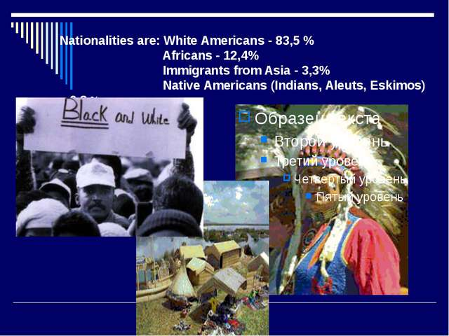 Nationalities are: White Americans - 83,5 % Africans - 12,4% Immigrants from...
