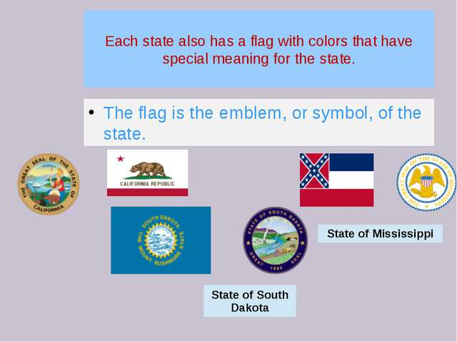 Each state also has a flag with colors that have special meaning for the stat...