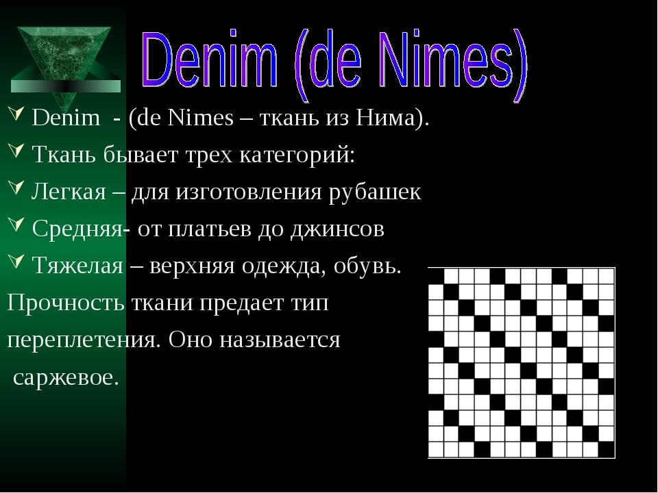 Denim - (de Nimes – ткань из Нима). Ткань бывает трех категорий: Легкая – для...