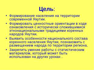 Цель: Формирование населения на территории современной Якутии. Формировать це