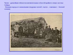 Чукчи – древнейшие обитатели континентальных областей крайнего северо- восток