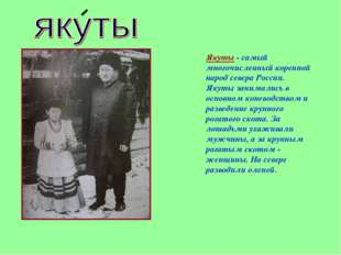 Якуты - самый многочисленный коренной народ севера России. Якуты занимались в
