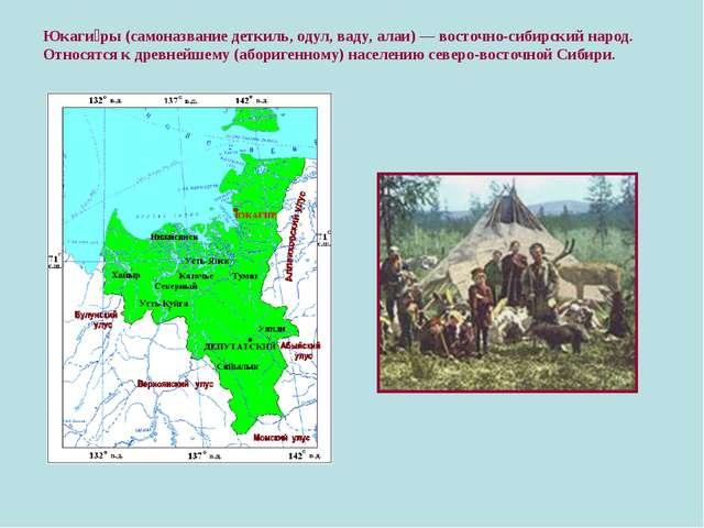 Юкаги́ры (самоназвание деткиль, одул, ваду, алаи) — восточно-сибирский народ....