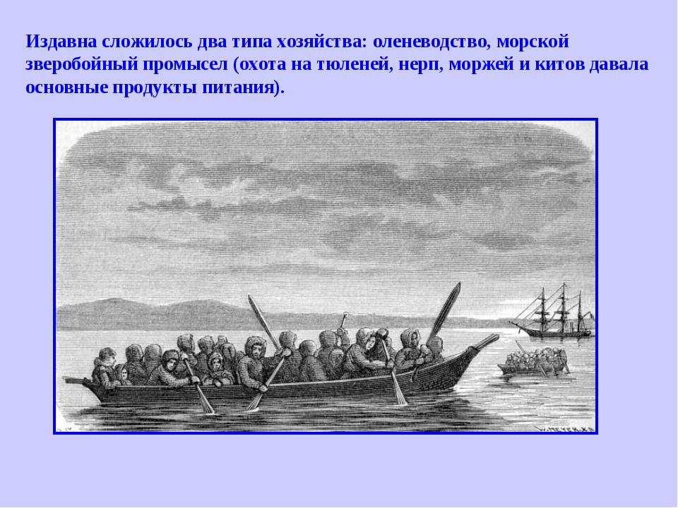Издавна сложилось два типа хозяйства: оленеводство, морской зверобойный промы...