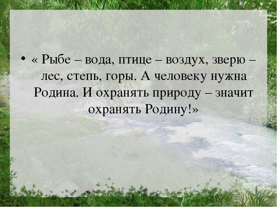 « Рыбе – вода, птице – воздух, зверю – лес, степь, горы. А человеку нужна Ро...