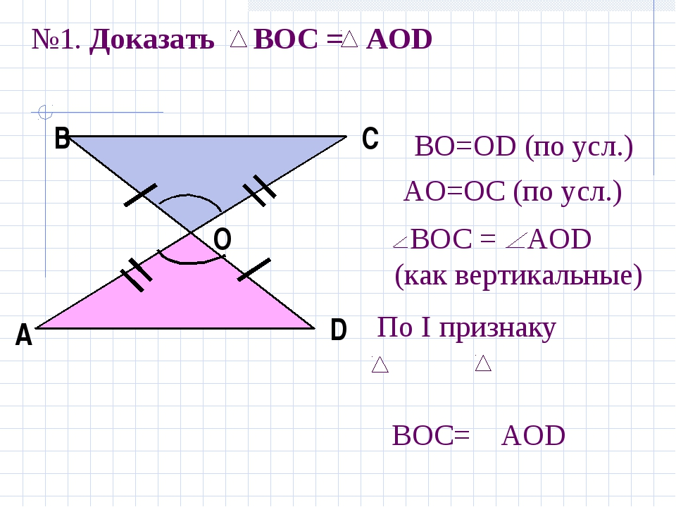№1. Доказать BOC = AOD А В С D О По I признаку ВОС= АОD АO=ОС (по усл.) BOС =...