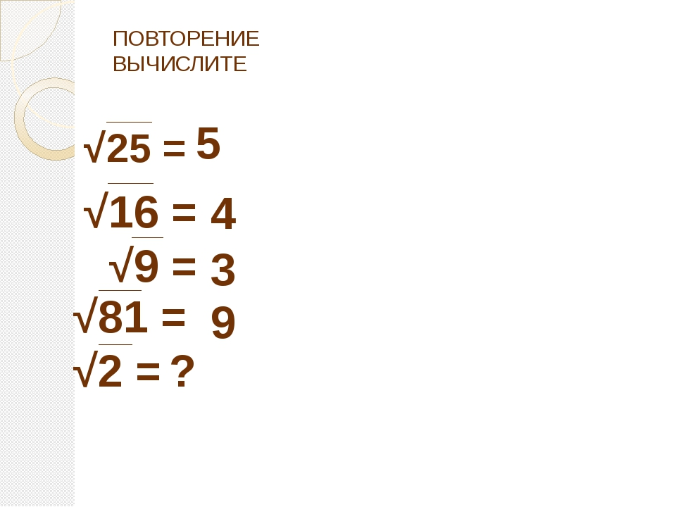ПОВТОРЕНИЕ ВЫЧИСЛИТЕ √25 = √16 = √9 = 5 4 3 √81 = √2 = 9 ?