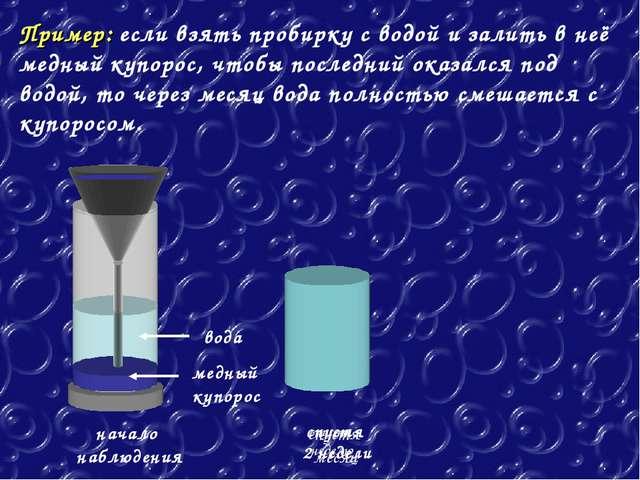 Пример: если взять пробирку с водой и залить в неё медный купорос, чтобы посл...