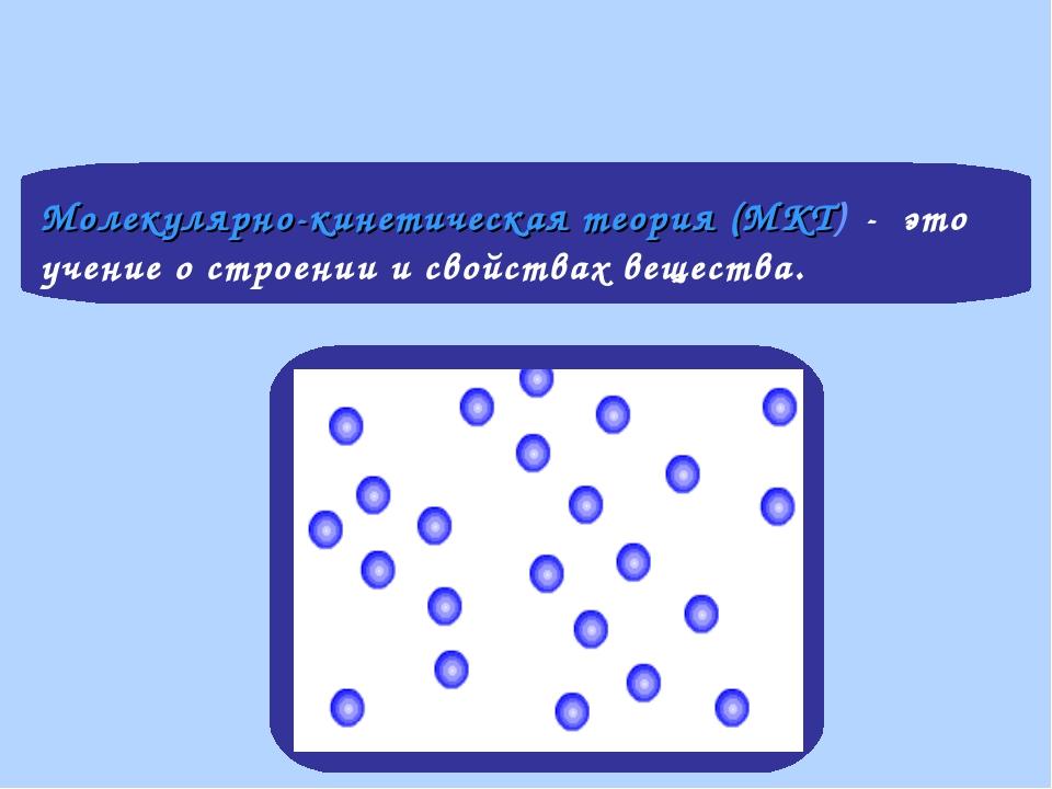 Молекулярно-кинетическая теория (МКТ) - это учение о строении и свойствах вещ...