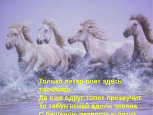 Только ветер воет здесь тоскливо Да еще вдруг топот прозвучит То табун коней
