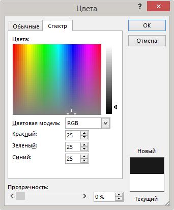 Выбор цвета фона презентации