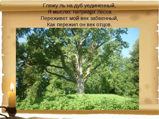Гляжу ль на дуб уединенный, Я мыслю: патриарх лесов Переживет мой век забвен...
