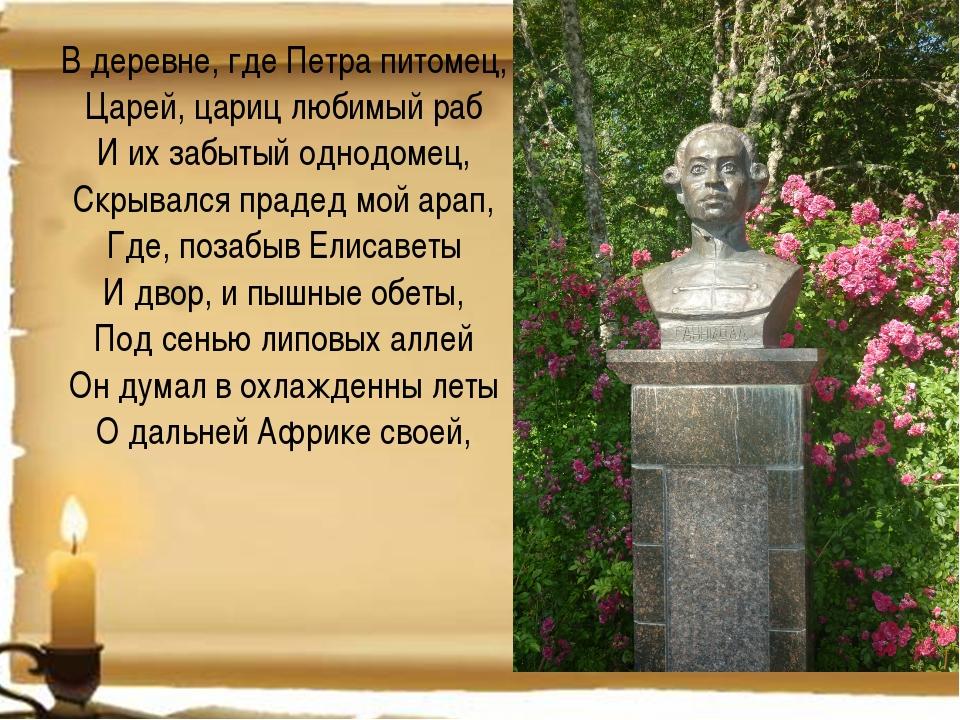 В деревне, где Петра питомец, Царей, цариц любимый раб И их забытый однодомец...
