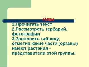 План 1.Прочитать текст 2.Рассмотреть гербарий, фотографии 3.Заполнить таблиц