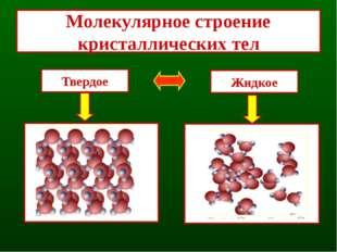 Кристаллизация - переход вещества из жидкого состояния в твердое Жидкость от