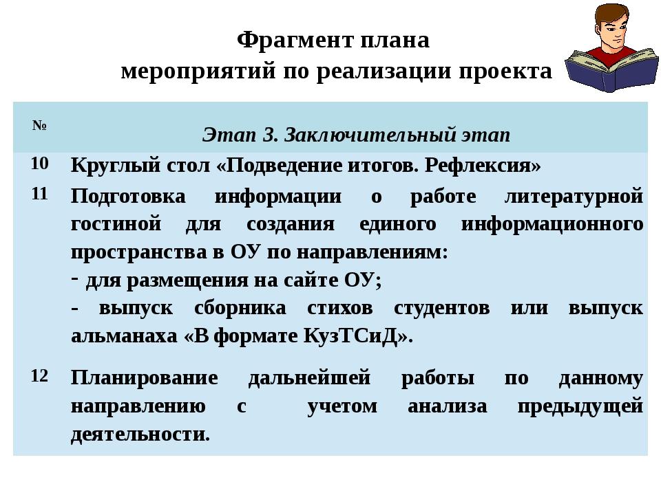 Фрагмент плана мероприятий по реализации проекта № Этап 3.Заключительный этап...