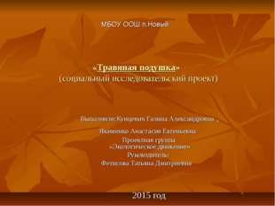 «Травяная подушка» (социальный исследовательский проект) Выполнили:Кунцевич Г