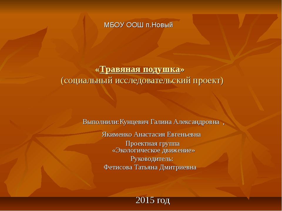 «Травяная подушка» (социальный исследовательский проект) Выполнили:Кунцевич Г...
