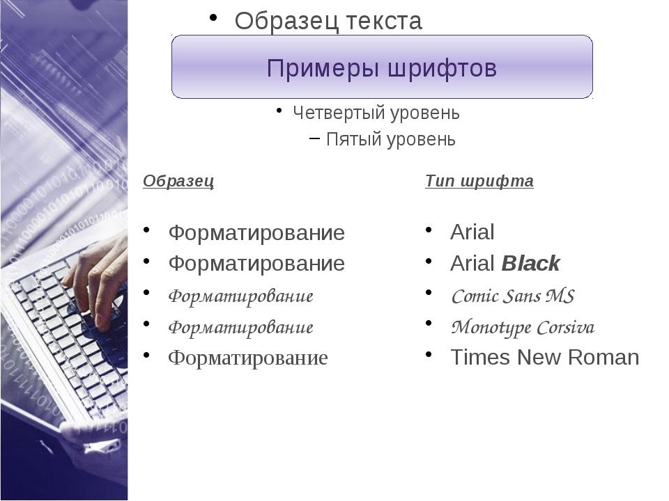 Примеры шрифтов Образец Форматирование Форматирование Форматирование Форматир...