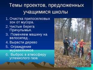 Темы проектов, предложенных учащимися школы Очистка припоселковых зон от мусо