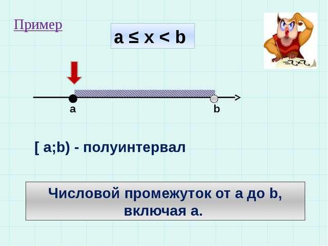а ≤ х < b a b [ a;b) - полуинтервал Числовой промежуток от а до b, включая а....