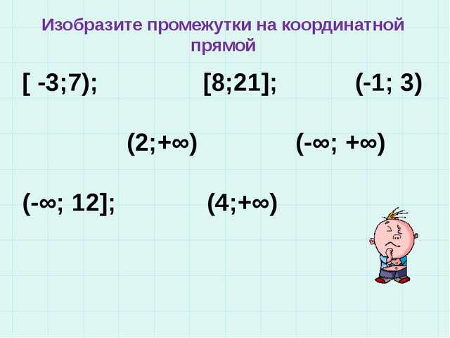 Изобразите промежутки на координатной прямой [ -3;7); [8;21]; (-1; 3) (2;+∞)...