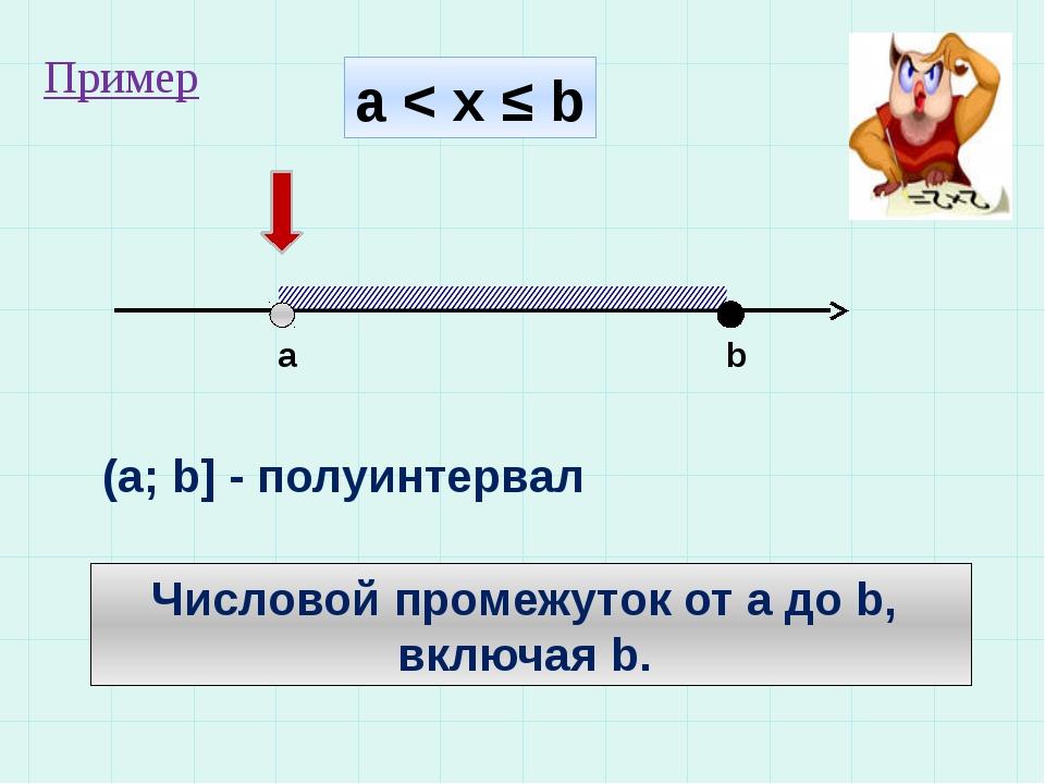 а < x ≤ b a b (a; b] - полуинтервал Числовой промежуток от а до b, включая b....