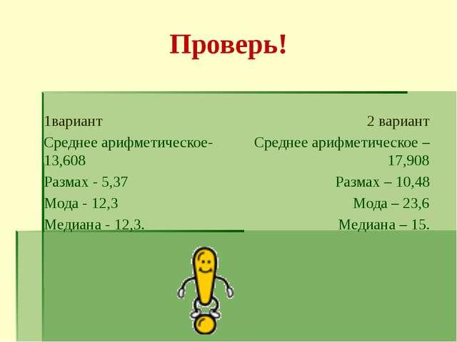 Проверь! 1вариант Среднее арифметическое-13,608 Размах - 5,37 Мода - 12,3 Мед...