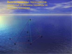 Высота пирамиды- перпендикуляр, опущенный из вершины пирамиды на плоскость ос