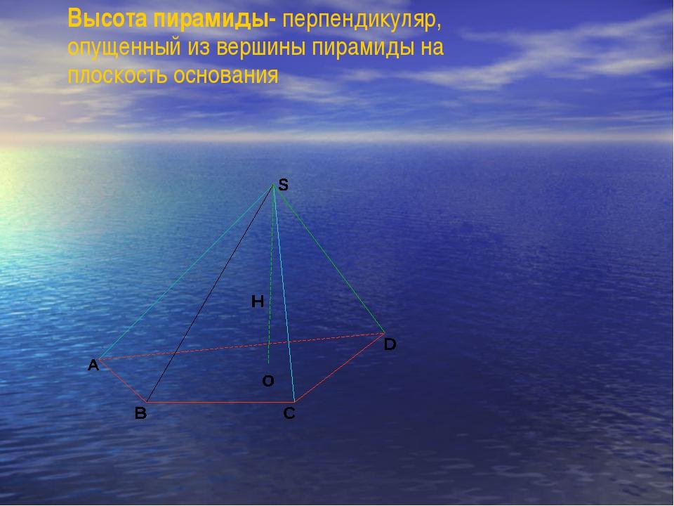 Высота пирамиды- перпендикуляр, опущенный из вершины пирамиды на плоскость ос...