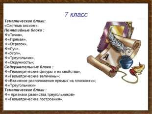 7 класс Тематические блоки: «Система аксиом»; Понятийные блоки : «Точка», «