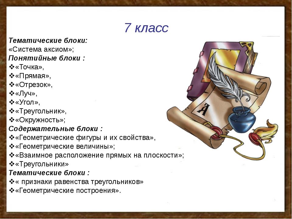 7 класс Тематические блоки: «Система аксиом»; Понятийные блоки : «Точка», «...